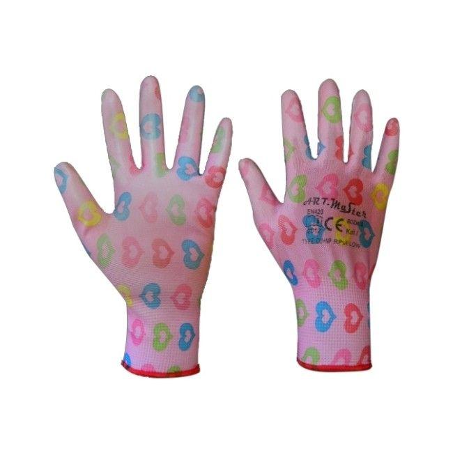 Rękawice robocze różowe