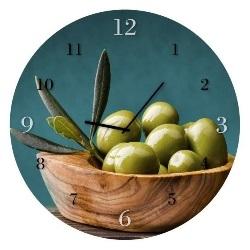 Zegar Glassclock Olives koło fi 30 cm