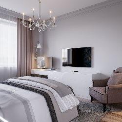 sypialnia w szarosciach