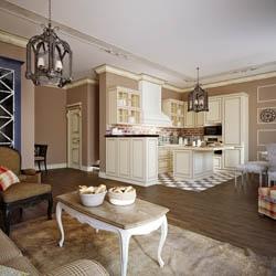 Salon i kuchnia w stylu rustykalnym