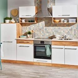 Zestaw mebli kuchennych drewno i biel