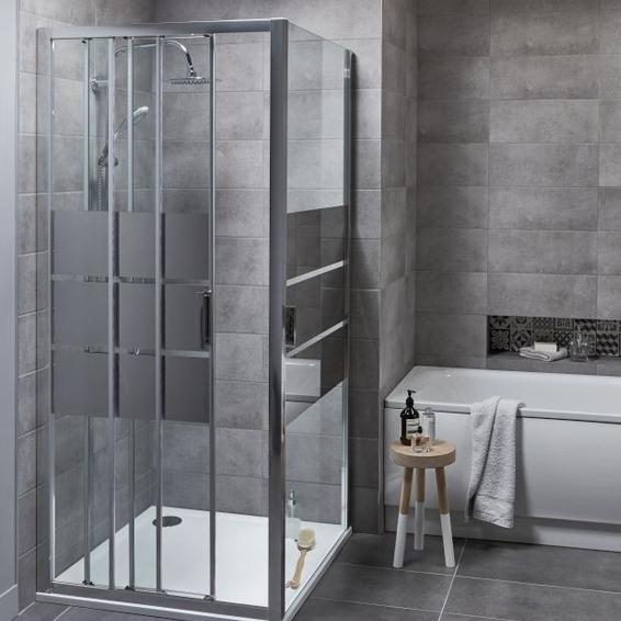 Drzwi prysznicowe przesuwne Cooke&Lewis Beloya trójdzielne 90 cm chrom/szkło lustrzane