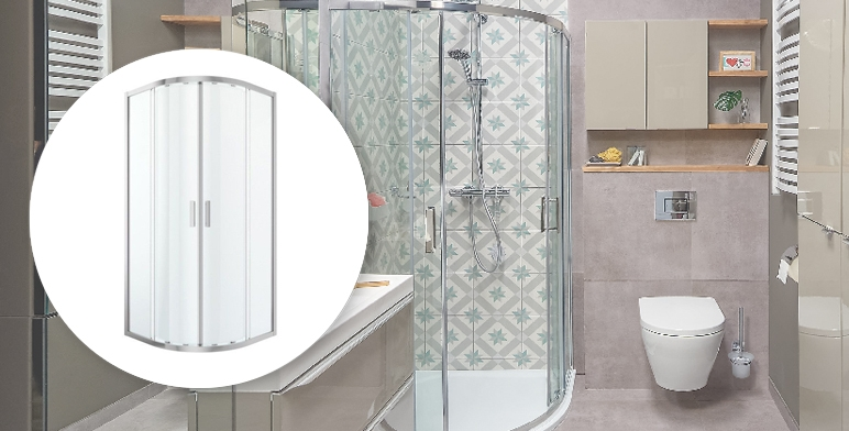 Kabina prysznicowa półokrągła Cooke&Lewis Beloya 90 x 90 x 195 cm chrom/transparentna