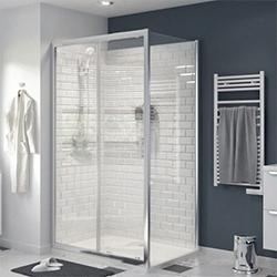 Drzwi prysznicowe przesuwne Cooke&Lewis Beloya 120 cm chrom/transparentne