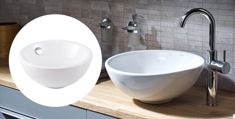Umywalka nablatowa ceramiczna Cooke&Lewis Blanca śr. 31 cm biała