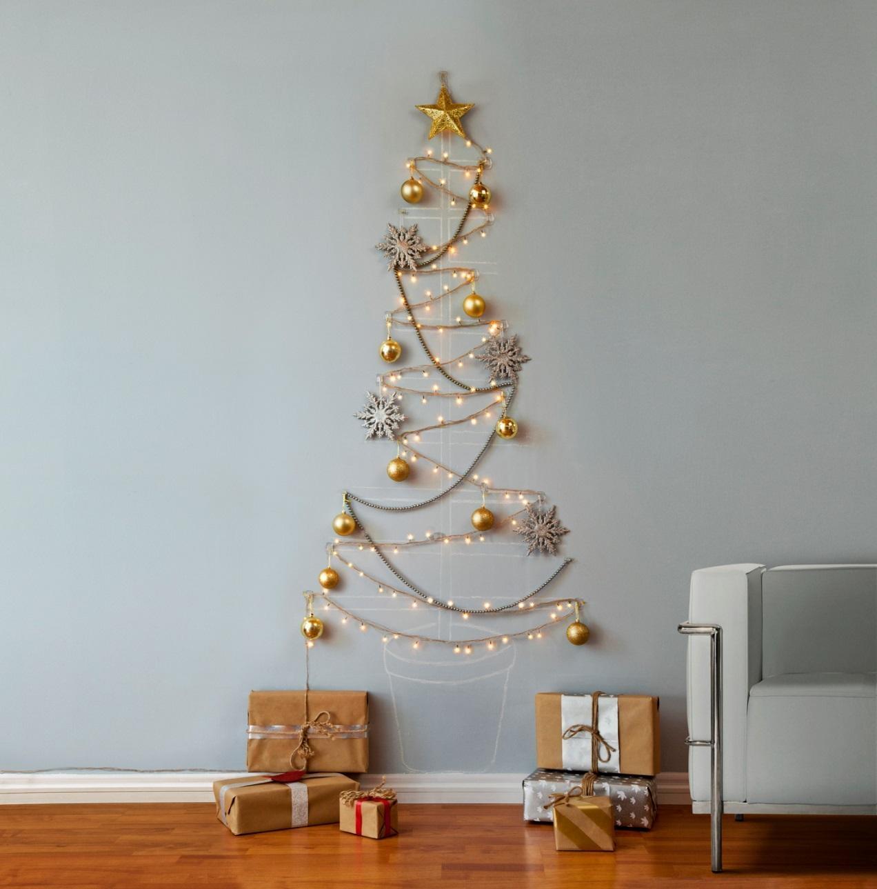 Dekoracje świąteczne - choinka na ścianie