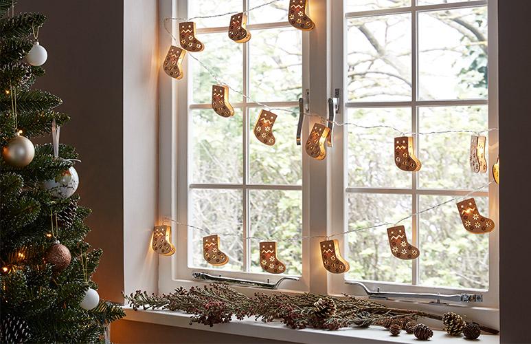 Lampki drewniana skarpeta 10 LED