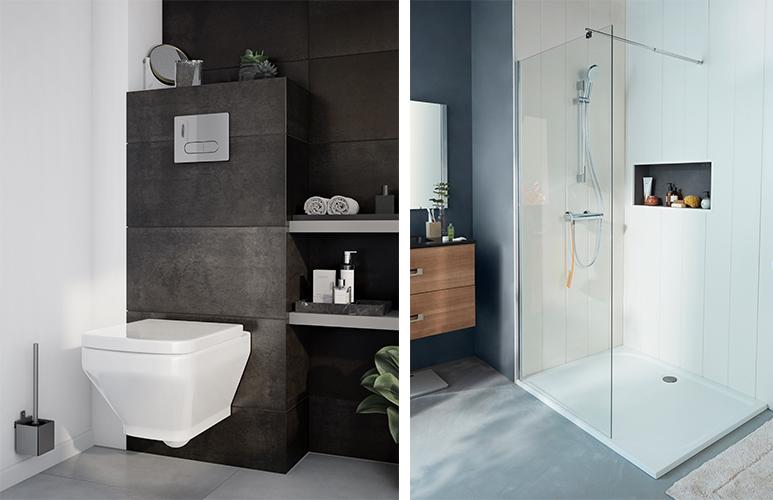 Kabina prysznicowa walk-in Onega Miska WC wisząca GoodHome Teesta