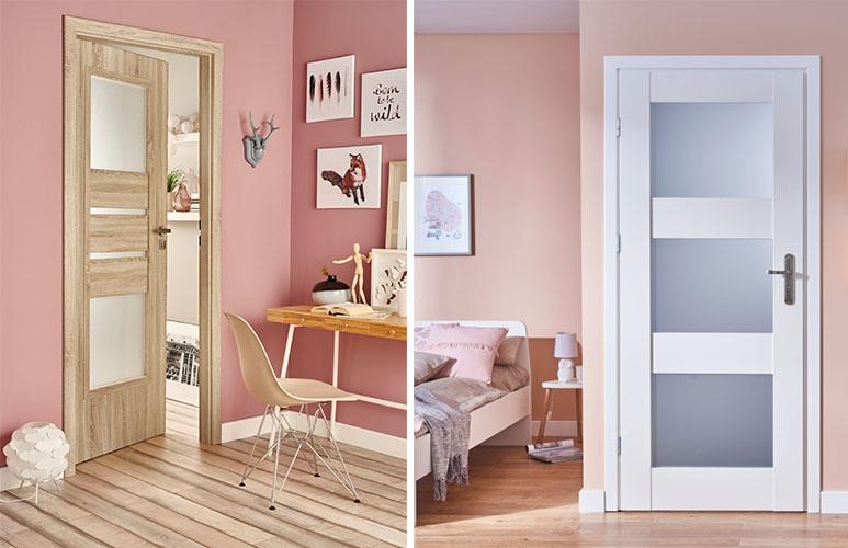 Drzwi pokojowe Ceres 80 prawe dąb sonoma Drzwi pokojowe Tre 90 lewe białe