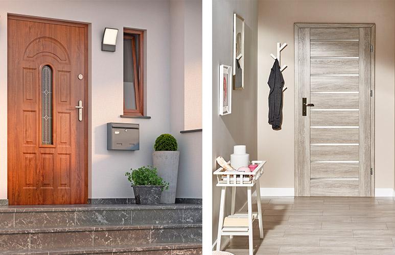 Drzwi pokojowe Prim 80 prawe dąb szary Drzwi zewnętrzne Roco 2 90 prawe orzech