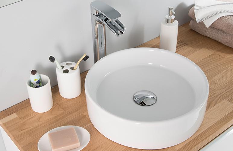 Umywalka nablatowa ceramiczna GoodHome Scalea śr. 35 cm biała