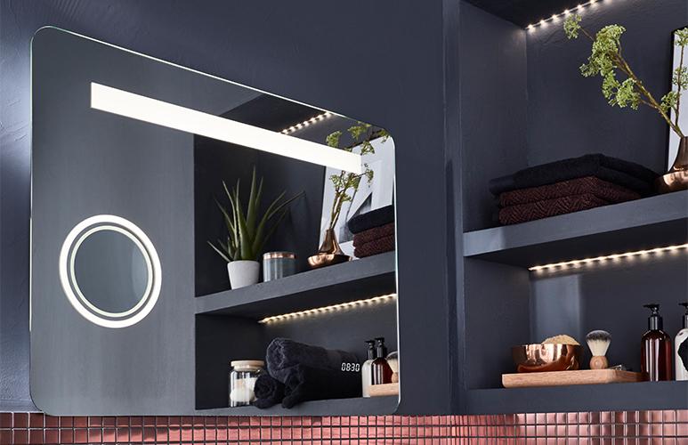Lustro prostokątne Cooke&Lewis Zoom Coppet 60 x 80 cm z oświetleniem i bluetooth