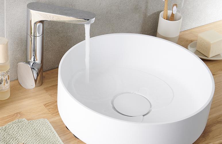 Umywalka nablatowa konglomeratowa GoodHome Apanas 40 x 40 cm biała
