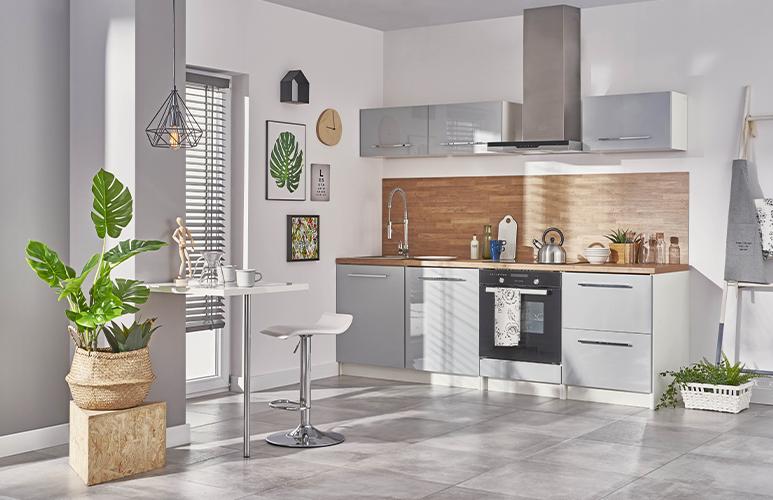 Gotowy zestaw mebli kuchennych Deftrans Brick 2,4 m szary połysk