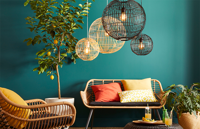 Lampa wisząca GoodHome Dacite 1 x 40 W E27 48 cm ciemny bambus