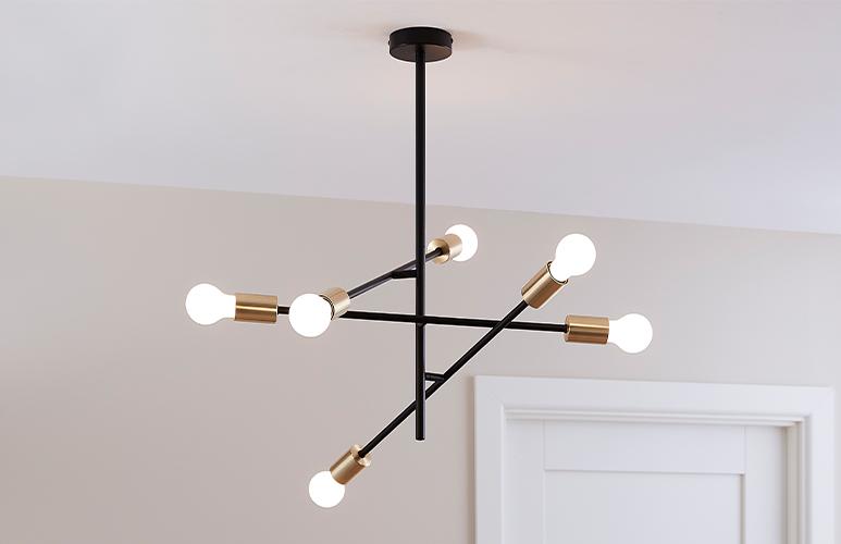 Lampa wisząca GoodHome Monzoni 6-punktowa E27 czarna