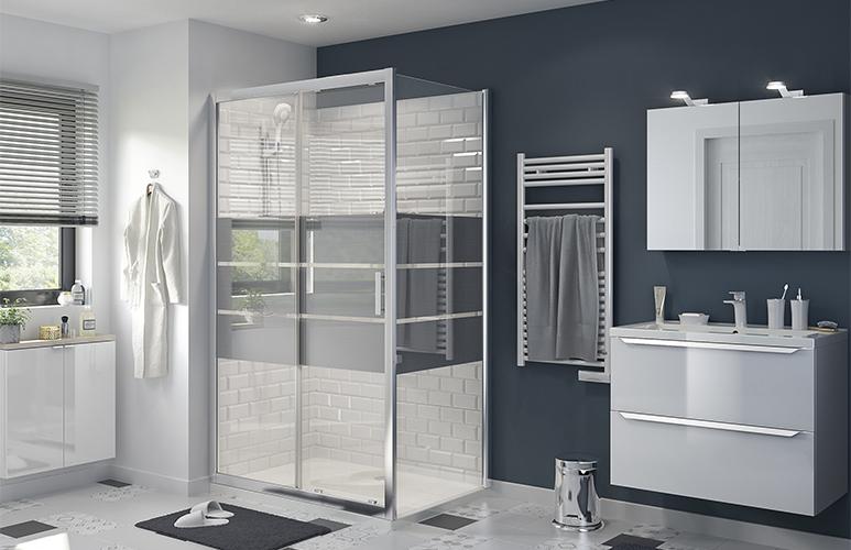 Drzwi prysznicowe przesuwne GoodHome Beloya 120 cm chrom/szkło lustrzane