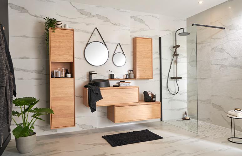 Kabina prysznicowa walk-in GoodHome Beloya 120 cm czarna/transparentna