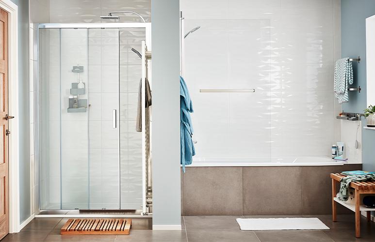 Drzwi prysznicowe przesuwne GoodHome Beloya 120 cm chrom/transparentne