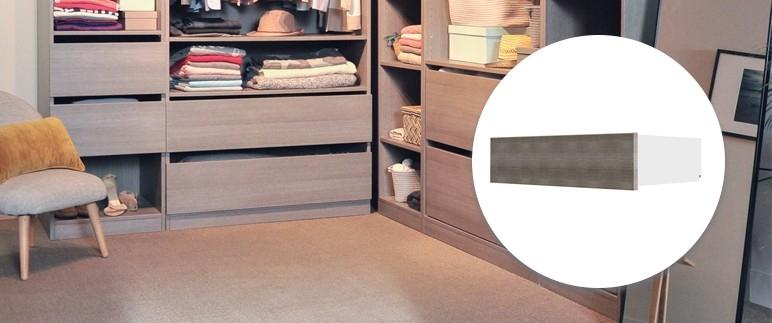 Szuflada Form Darwin wysoka 31,8 x 93,8 x 51,6 cm dąb szary