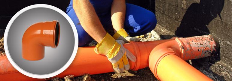 925257 Kolano kanalizacyjne 88 st. 110 mm pomaranczowe
