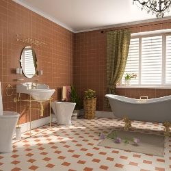 łazienka ze złotymi zdobieniami
