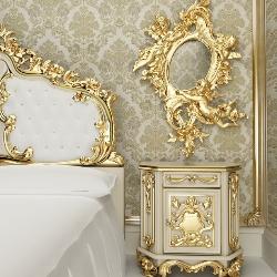 złote ornamenty w sypialni