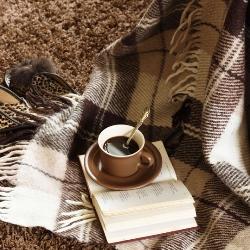 ciepły koc na miękkim dywanie