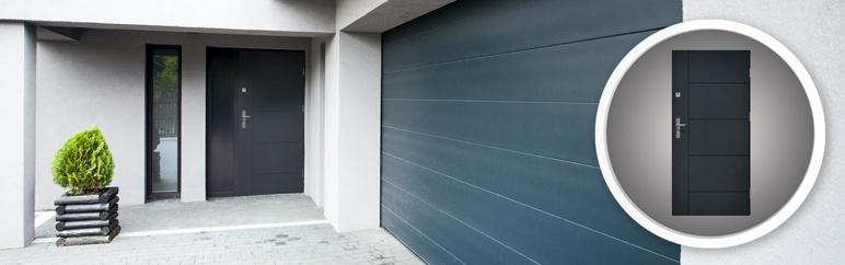 Drzwi zewnętrzne stalowe pełne Linea 80 cm prawe antracyt