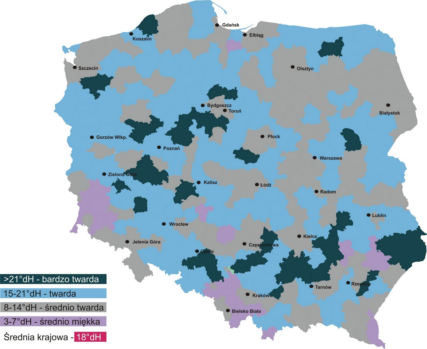 mapa twardości Polska
