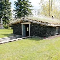 domek z trawą na dachu