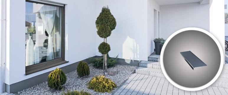 Parapet zewnętrzny stalowy 25 x 150 cm grafitowy
