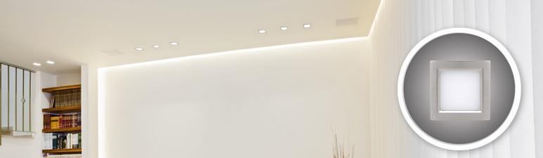 Oprawa kwadratowa Horoz matowy chrom 1 x 12 W LED zimna biała