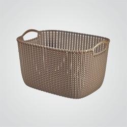 Koszyk prostokątny Curver Knit L brązowy