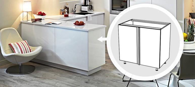 Szafka kuchenna dolna narożna lewa Unik DN-100L biała