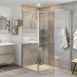 Kabina prysznicowa walk-in Cooke&Lewis Beloya 80 + 45 cm chrom/szkło lustrzane