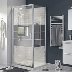 Drzwi prysznicowe wahadłowe Cooke&Lewis Beloya 100 cm chrom/szkło lustrzane