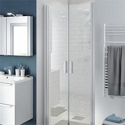 Drzwi prysznicowe uchylne podwójne Cooke&Lewis Beloya 90 cm chrom/transparentne