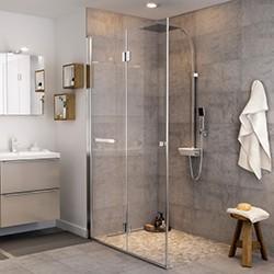 Drzwi prysznicowe składane Cooke&Lewis Beloya 120 cm chrom/transparentne