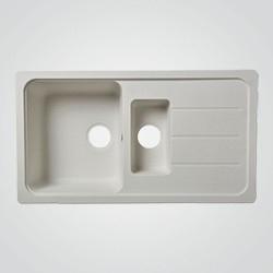 Zlewozmywak granitowy Cooke&Lewis Arber 1,5-komorowy z ociekaczem biały