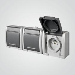 Gniazdko Elektro-Plast Aquant IP55 natynkowe potrójne szare