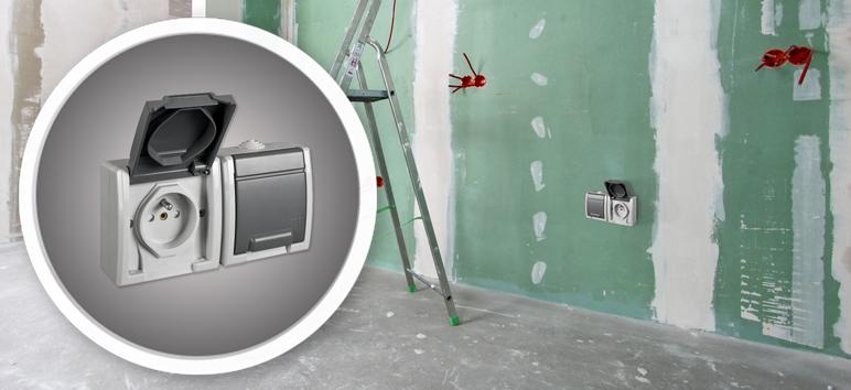 Gniazdko Elektro-Plast Aquant IP55 natynkowe podwójne szare