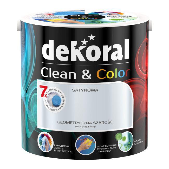 Satynowa farba lateksowa Dekoral Clean & Color geometryczna szarość 2,5 l