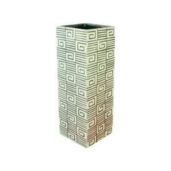 Wazon ceramiczny kwadrat 33 cm biało-brązowy