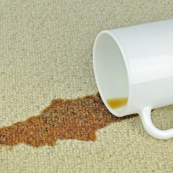 rozlana kawa na dywanie