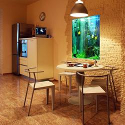 zabudowane akwarium w kuchni